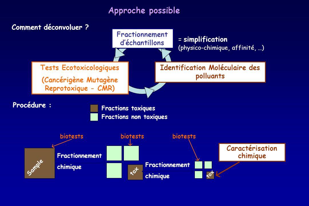 tox Fractionnement chimique Tests Ecotoxicologiques (Cancérigène Mutagène Reprotoxique - CMR) Identification Moléculaire des polluants = simplificatio