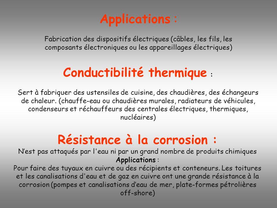 Applications : Fabrication des dispositifs électriques (câbles, les fils, les composants électroniques ou les appareillages électriques) Conductibilit