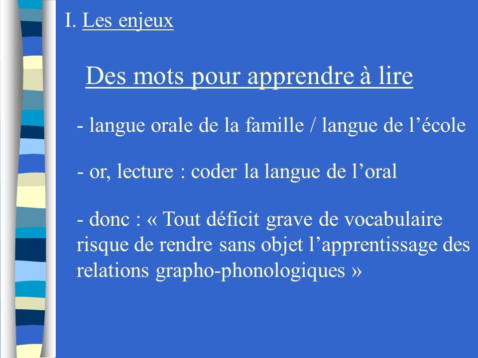 I. Les enjeux Des mots pour apprendre à lire - langue orale de la famille / langue de lécole - or, lecture : coder la langue de loral - donc : « Tout