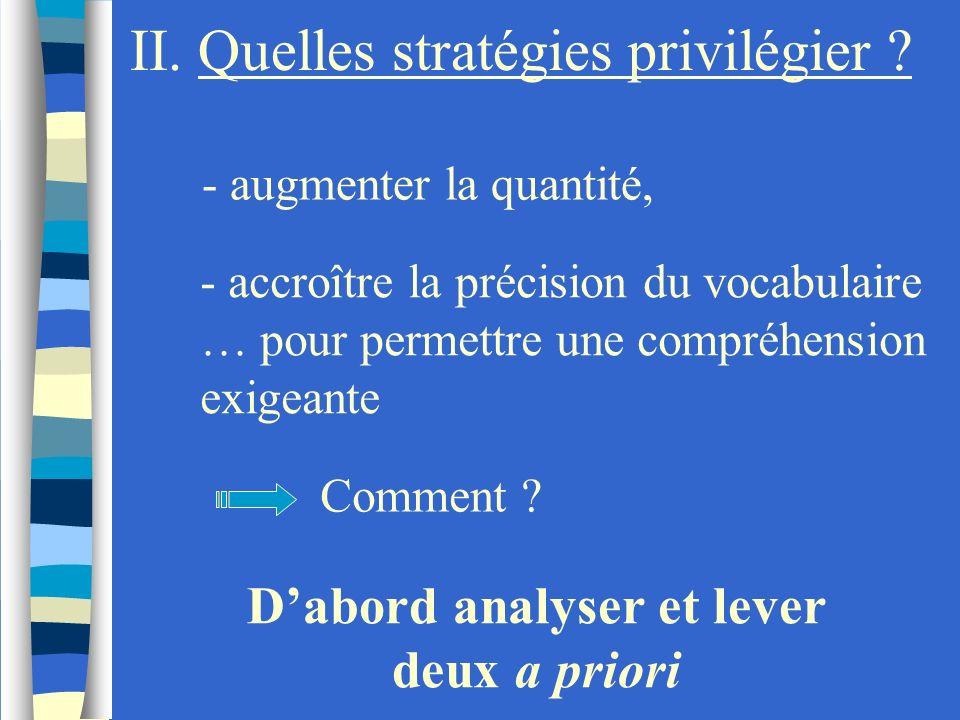 II. Quelles stratégies privilégier ? - augmenter la quantité, - accroître la précision du vocabulaire … pour permettre une compréhension exigeante Dab