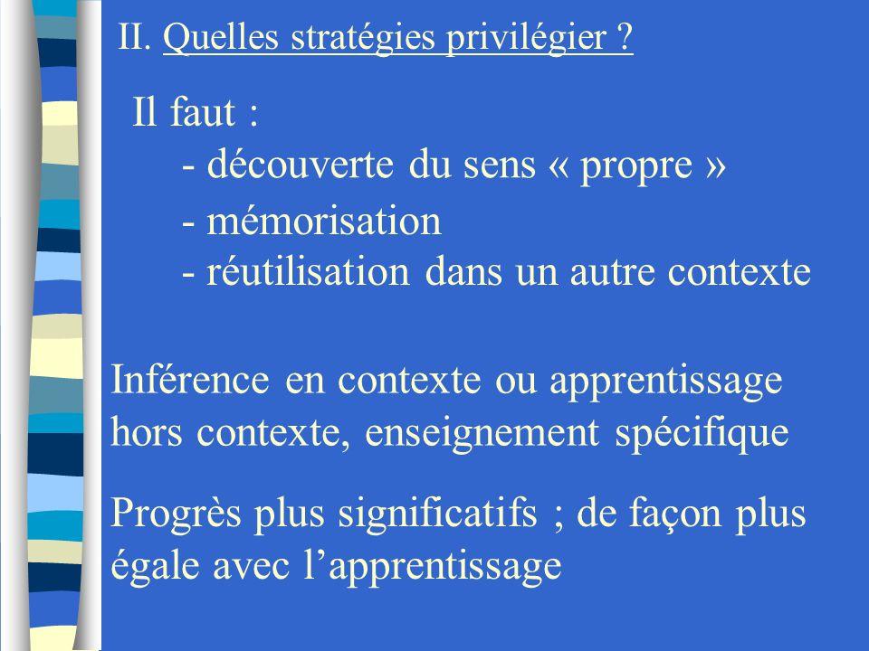 II. Quelles stratégies privilégier ? Il faut : - découverte du sens « propre » - mémorisation - réutilisation dans un autre contexte Inférence en cont