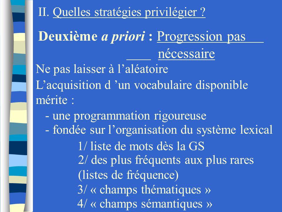 II. Quelles stratégies privilégier ? Deuxième a priori : Progression pas nécessaire Ne pas laisser à laléatoire Lacquisition d un vocabulaire disponib