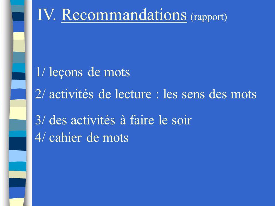 IV. Recommandations (rapport) 1/ leçons de mots 2/ activités de lecture : les sens des mots 3/ des activités à faire le soir 4/ cahier de mots