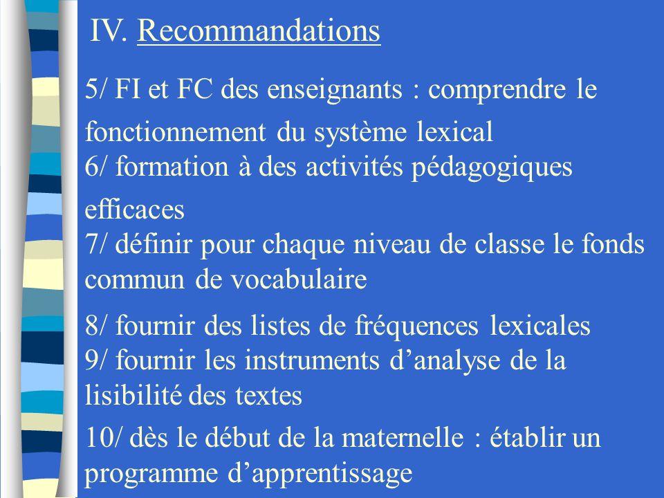 5/ FI et FC des enseignants : comprendre le fonctionnement du système lexical 6/ formation à des activités pédagogiques efficaces 7/ définir pour chaq