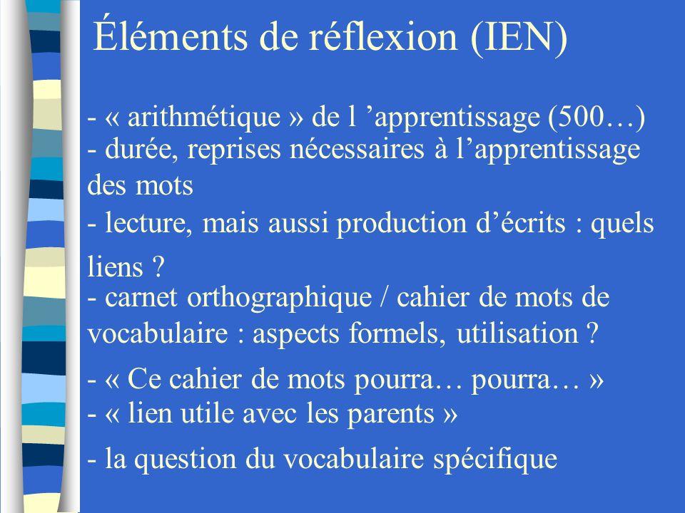Éléments de réflexion (IEN) - « arithmétique » de l apprentissage (500…) - durée, reprises nécessaires à lapprentissage des mots - lecture, mais aussi