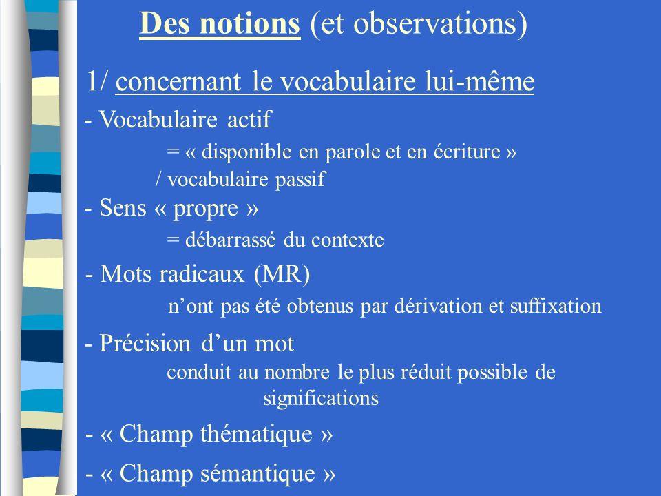 - Vocabulaire actif = « disponible en parole et en écriture » / vocabulaire passif Des notions (et observations) 1/ concernant le vocabulaire lui-même