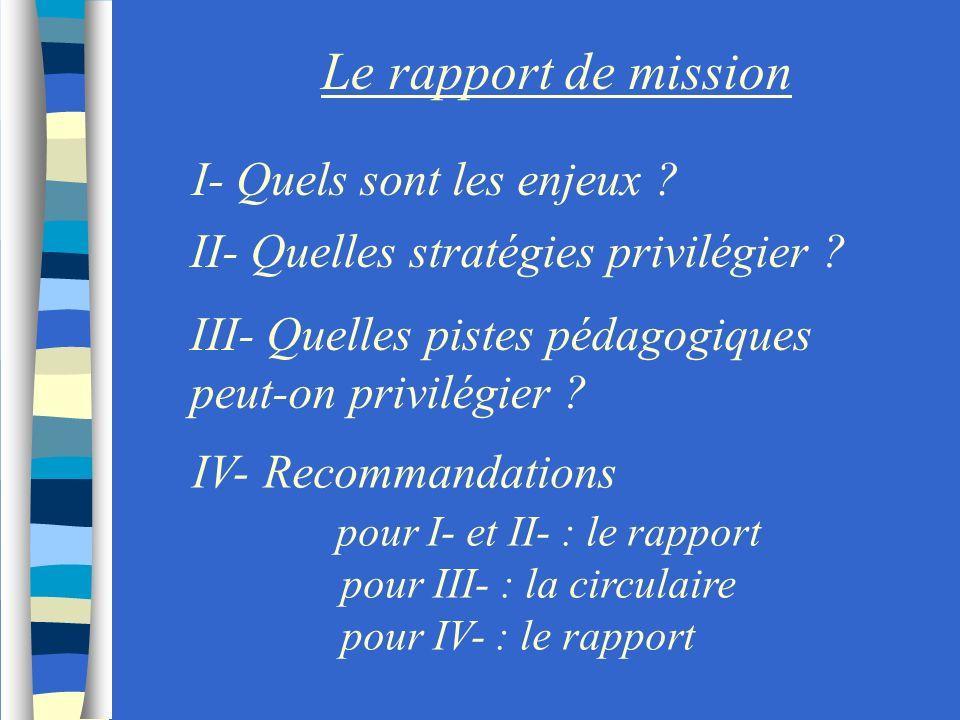 Le rapport de mission I- Quels sont les enjeux ? II- Quelles stratégies privilégier ? III- Quelles pistes pédagogiques peut-on privilégier ? IV- Recom