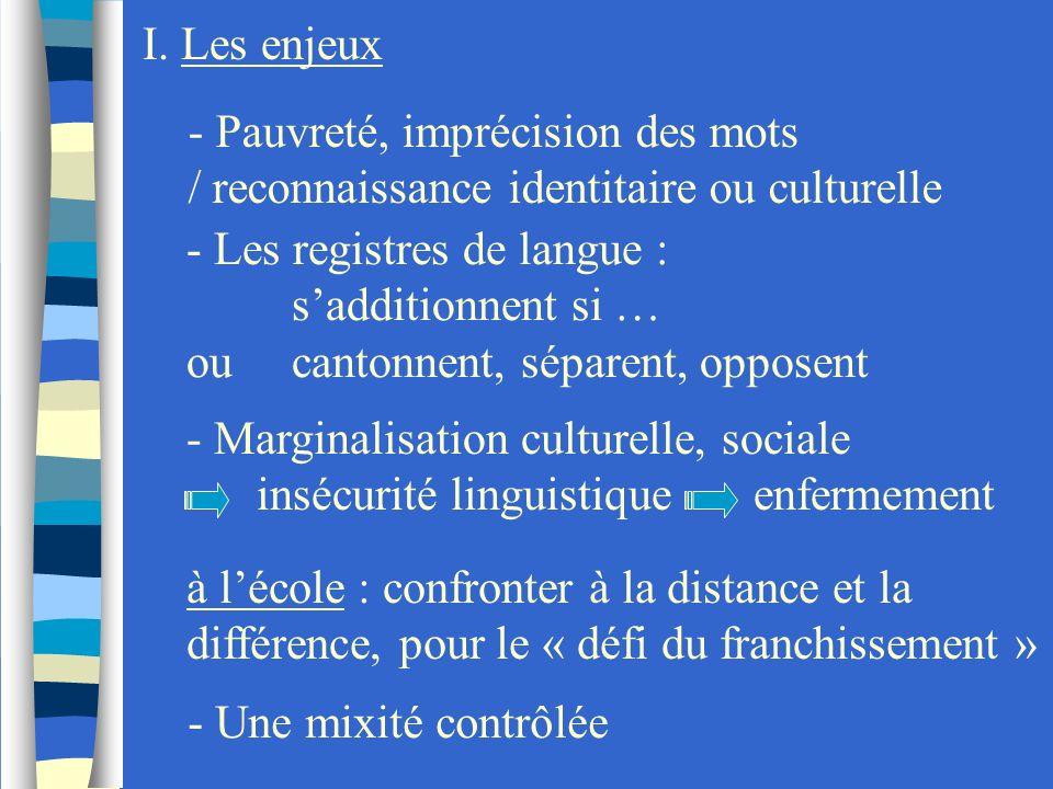 I. Les enjeux - Pauvreté, imprécision des mots / reconnaissance identitaire ou culturelle - Les registres de langue : sadditionnent si … oucantonnent,