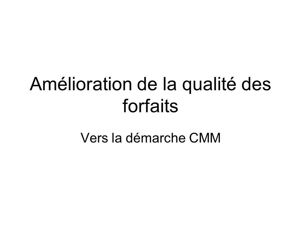 Amélioration de la qualité des forfaits Vers la démarche CMM
