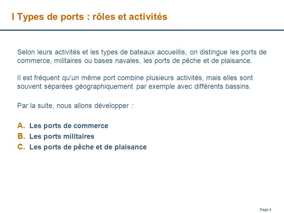 Page 5 A PORTS DE COMMERCE Les ports de commerce, servent à accueillir des navires de commerce, ceux-ci incluent 1.le trafic de passagers sur les ferries et les paquebots 2.et le transport de marchandises pour les navires cargo.