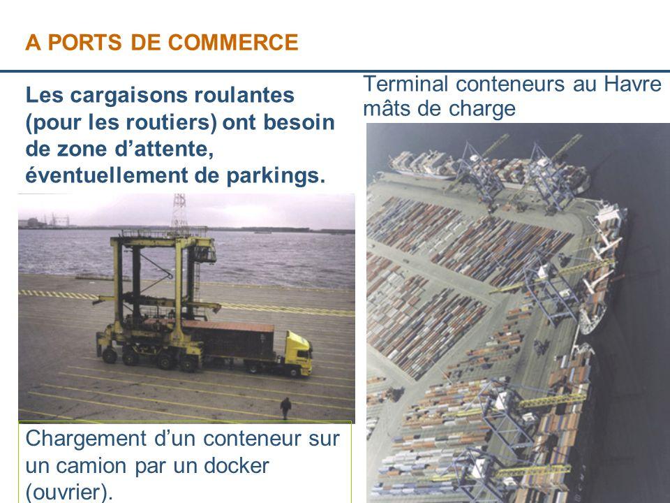 Page 6 A PORTS DE COMMERCE Terminal conteneurs au Havre et mâts de charge Chargement dun conteneur sur un camion par un docker (ouvrier).. Les cargais