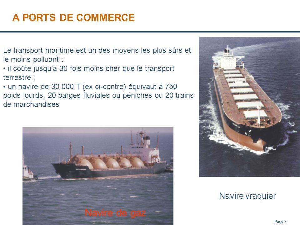 Page 7 A PORTS DE COMMERCE Navire vraquier Le transport maritime est un des moyens les plus sûrs et le moins polluant : il coûte jusquà 30 fois moins
