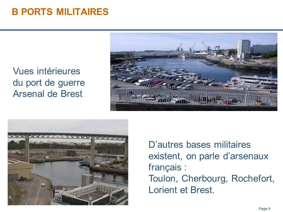 Page 9 B PORTS MILITAIRES Dautres bases militaires existent, on parle darsenaux français : Toulon, Cherbourg, Rochefort, Lorient et Brest. Vues intéri