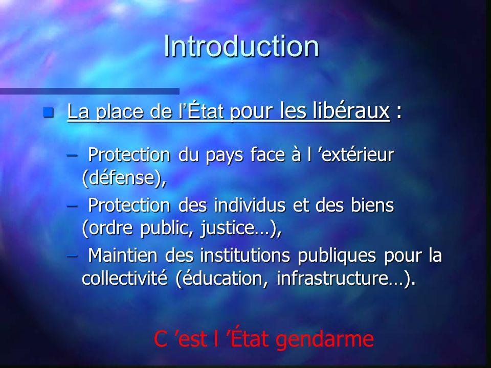 Introduction La place de lÉtat p our les libéraux : La place de lÉtat p our les libéraux : – Protection du pays face à l extérieur (défense), – Protec