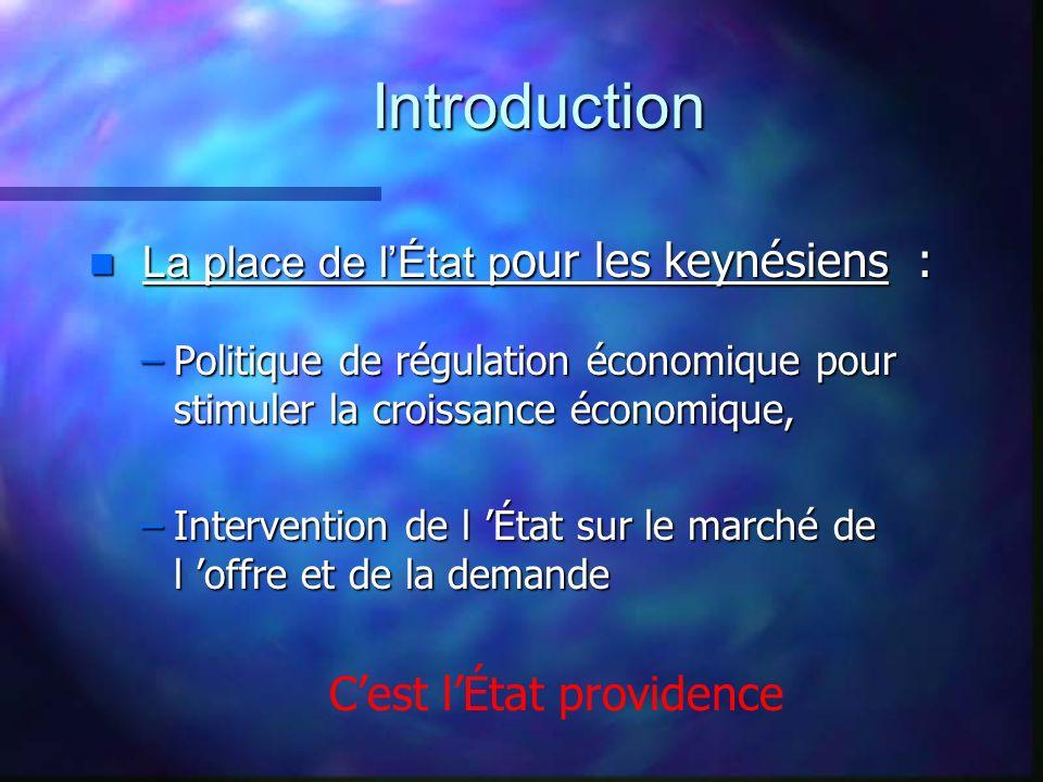 Introduction La place de lÉtat p our les keynésiens : La place de lÉtat p our les keynésiens : –Politique de régulation économique pour stimuler la cr