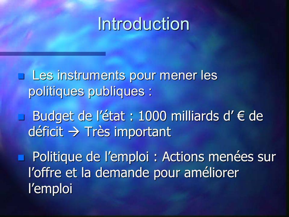 Les instruments pour mener les politiques publiques : Les instruments pour mener les politiques publiques : n Budget de létat : 1000 milliards d de dé