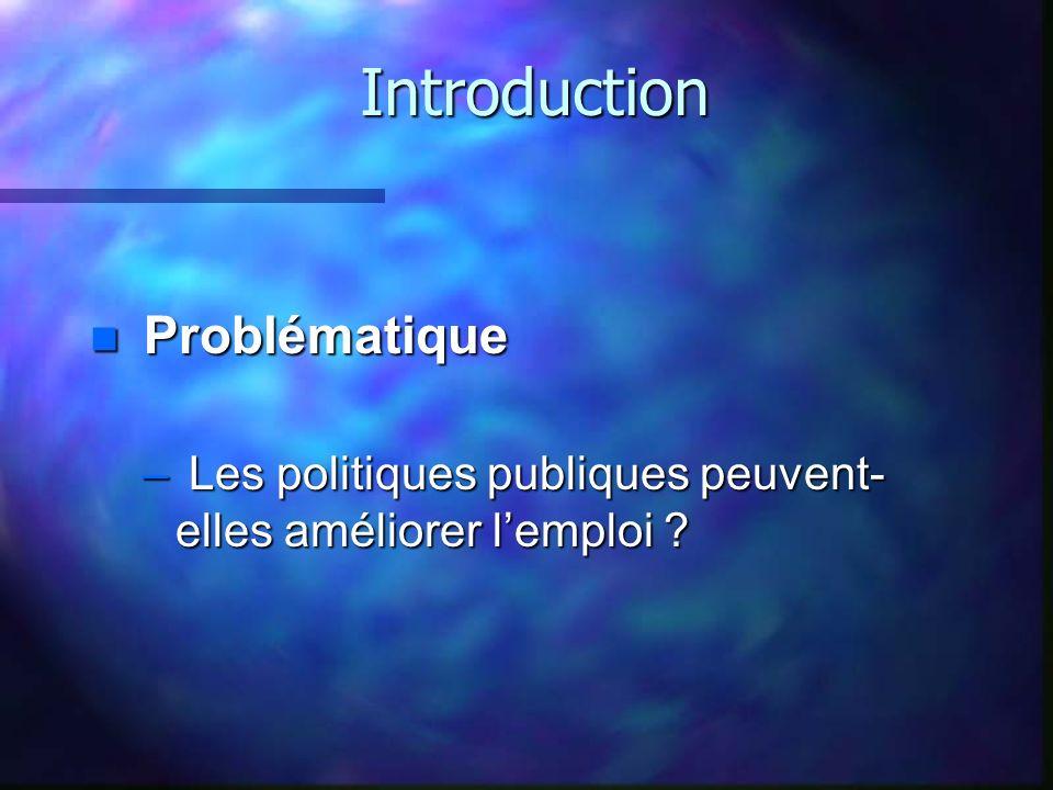 Introduction n Problématique – Les politiques publiques peuvent- elles améliorer lemploi ?