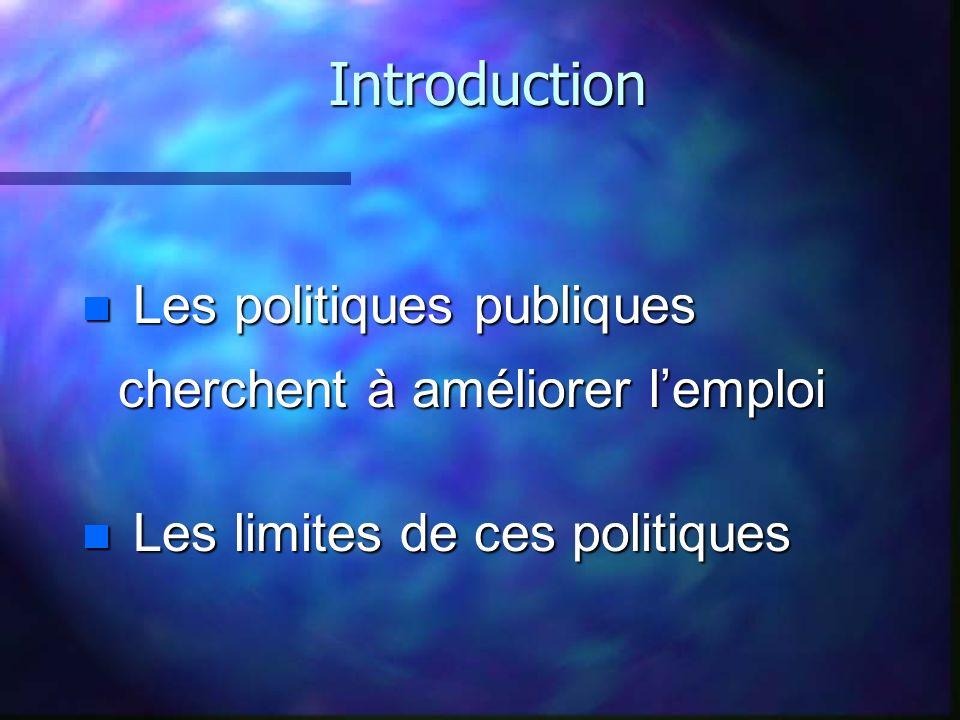 Introduction n Les politiques publiques cherchent à améliorer lemploi n Les limites de ces politiques