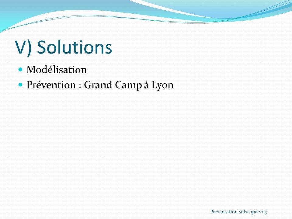V) Solutions Modélisation Prévention : Grand Camp à Lyon Présentation Solscope 2013