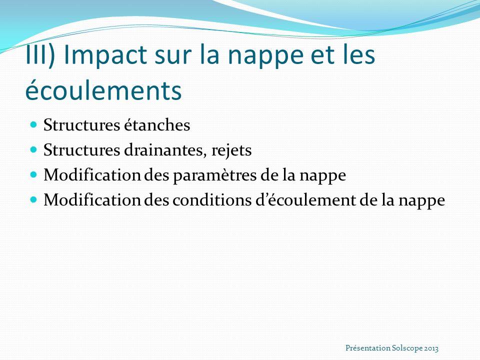 III) Impact sur la nappe et les écoulements Structures étanches Structures drainantes, rejets Modification des paramètres de la nappe Modification des