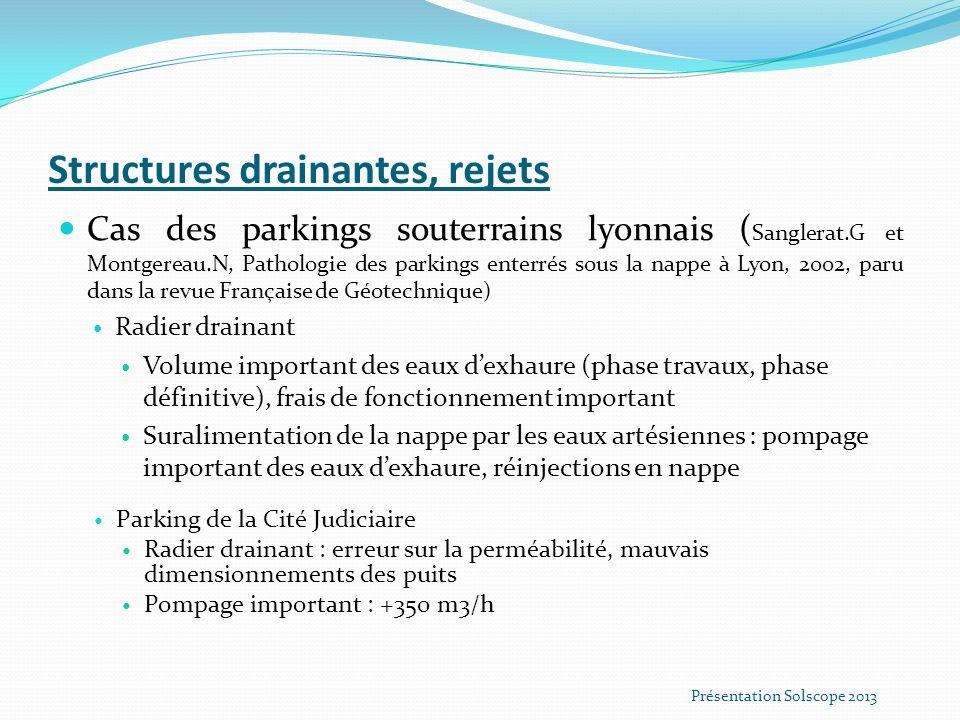 Structures drainantes, rejets Cas des parkings souterrains lyonnais ( Sanglerat.G et Montgereau.N, Pathologie des parkings enterrés sous la nappe à Ly