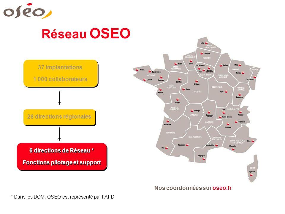 28 directions régionales 6 directions de Réseau * Fonctions pilotage et support 6 directions de Réseau * Fonctions pilotage et support * Dans les DOM,