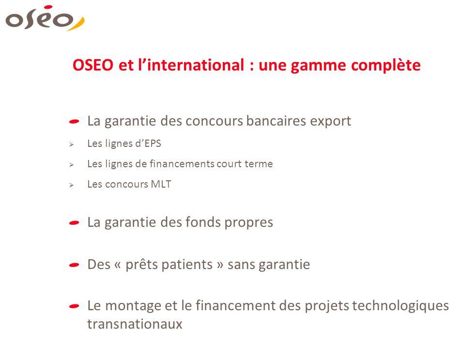 OSEO et linternational : une gamme complète La garantie des concours bancaires export Les lignes dEPS Les lignes de financements court terme Les conco