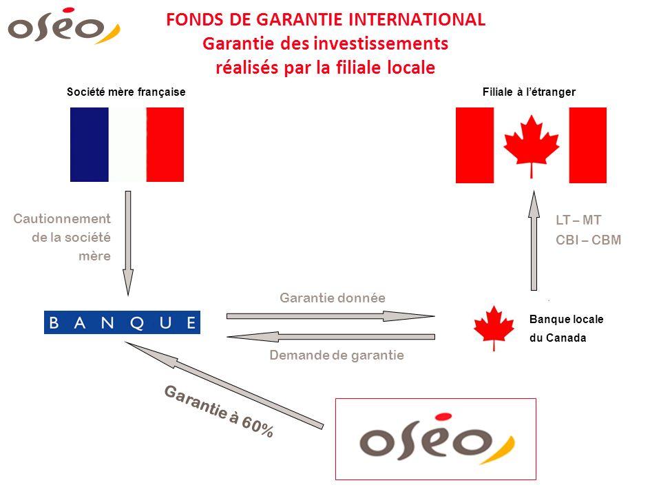 FONDS DE GARANTIE INTERNATIONAL Garantie des investissements réalisés par la filiale locale Société mère françaiseFiliale à létranger Garantie à 60% L