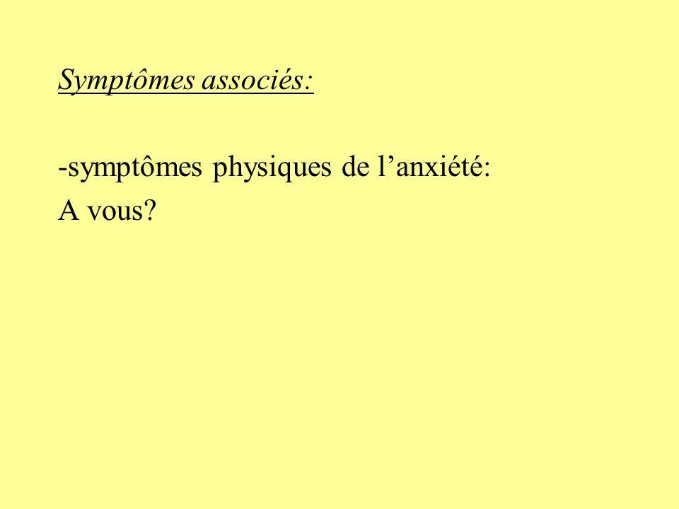 Symptômes associés: -symptômes physiques de lanxiété: tachycardie, sueurs, bouffées de chaleur -Pfs amnésie complète ou partielle de lépisode -Eléments dépressogènes, anxieux -Anhédonie