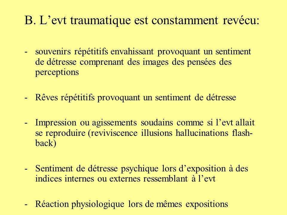 B. Levt traumatique est constamment revécu: -souvenirs répétitifs envahissant provoquant un sentiment de détresse comprenant des images des pensées de