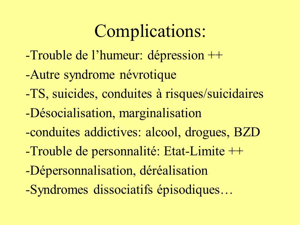Traitement: -Le plus PRECOCE possible: Cellules durgences médico-psychologiques -La thérapie vise à lexpression des affects liès au traumatisme et à la réduction des symptômes.