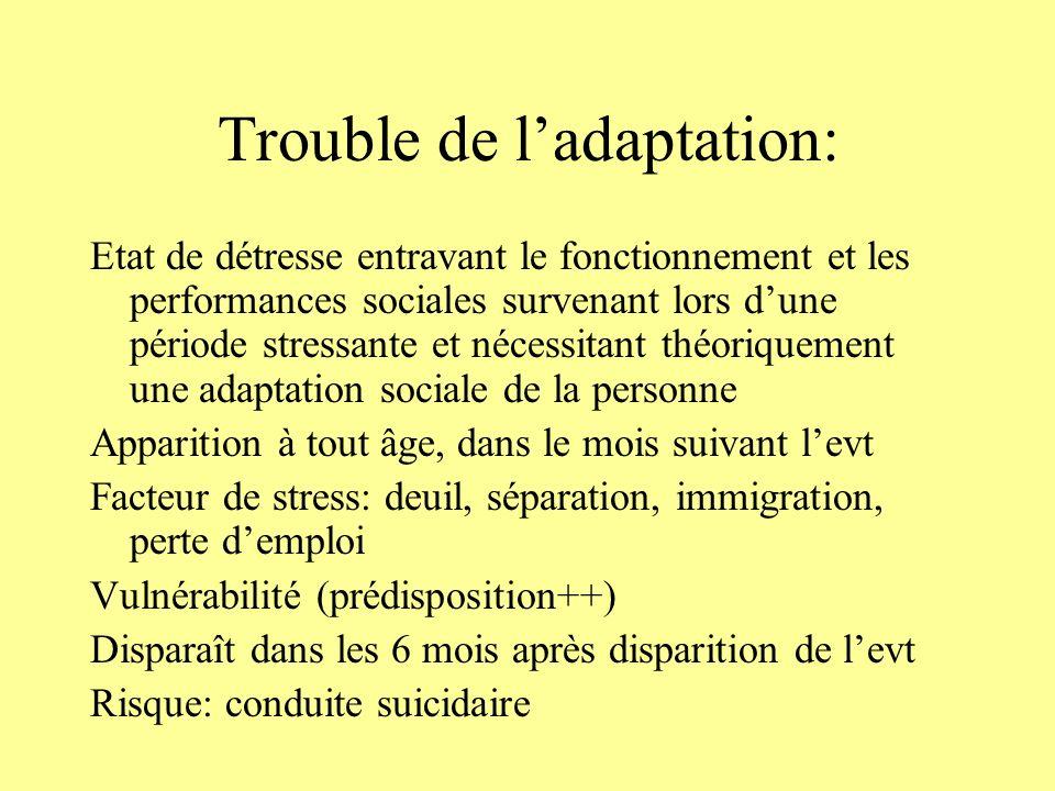 Evolution: -Favorable lorsque la prise en charge est adaptée -Complications possibles: abus de toxiques, TS Diagnostics différentiels: -PTSD -ESA -EDM -TAG -Deuil pathologique