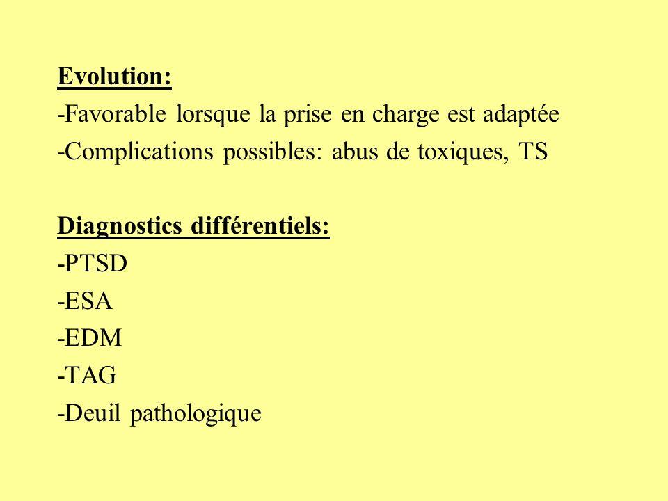 Traitement: -Psychothérapie individuelle: PIP TCC -Chimiothérapie selon intensité: BZD, symptomatique…