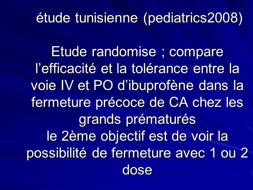 étude tunisienne (pediatrics2008) Etude randomise ; compare lefficacité et la tolérance entre la voie IV et PO dibuprofène dans la fermeture précoce de CA chez les grands prématurés le 2ème objectif est de voir la possibilité de fermeture avec 1 ou 2 dose étude tunisienne (pediatrics2008) Etude randomise ; compare lefficacité et la tolérance entre la voie IV et PO dibuprofène dans la fermeture précoce de CA chez les grands prématurés le 2ème objectif est de voir la possibilité de fermeture avec 1 ou 2 dose