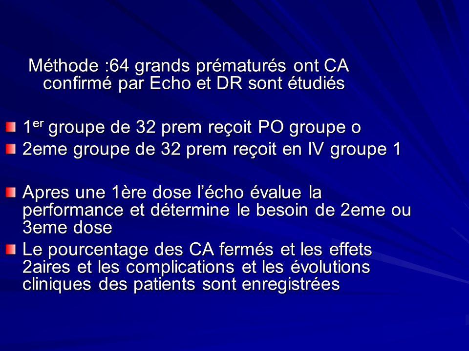 Méthode :64 grands prématurés ont CA confirmé par Echo et DR sont étudiés 1 er groupe de 32 prem reçoit PO groupe o 2eme groupe de 32 prem reçoit en I