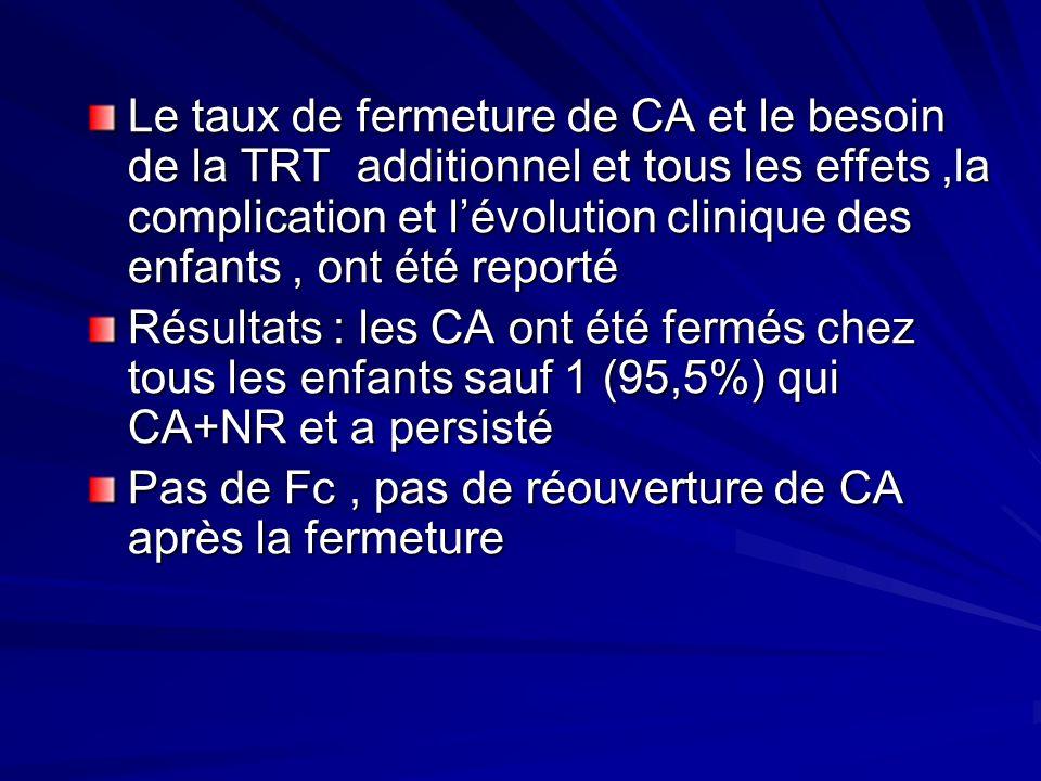 Le taux de fermeture de CA et le besoin de la TRT additionnel et tous les effets,la complication et lévolution clinique des enfants, ont été reporté R