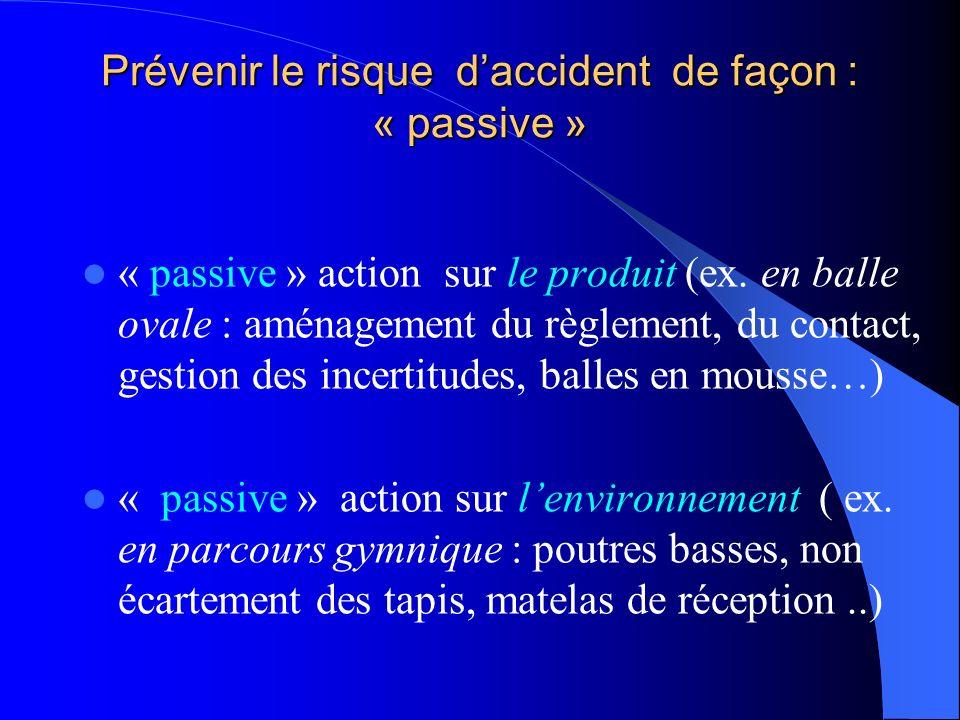 Exemple de combinaison Le produit (ex. : escalade APS à risque ) + Lhumain ( élèves casse- cou, classe agitée) + Lenvironnement (grosses prises, haute