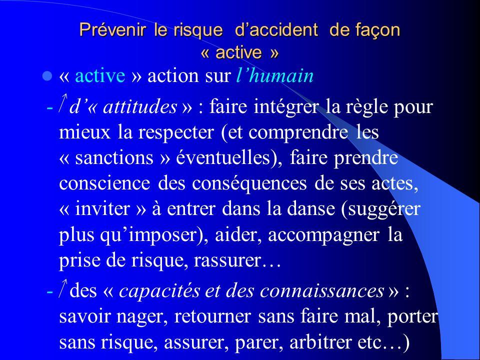 Prévenir le risque daccident de façon : « passive » « passive » action sur le produit (ex. en balle ovale : aménagement du règlement, du contact, gest