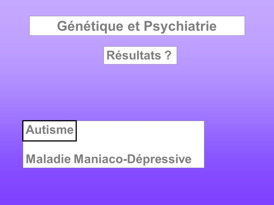 Génétique et Psychiatrie Résultats ? Autisme Maladie Maniaco-Dépressive