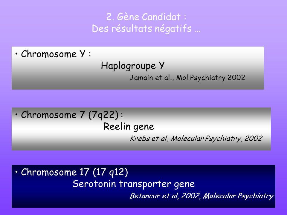 2. Gène Candidat : Des résultats négatifs … Chromosome 7 (7q22) : Reelin gene Krebs et al, Molecular Psychiatry, 2002 Chromosome 17 (17 q12) Serotonin