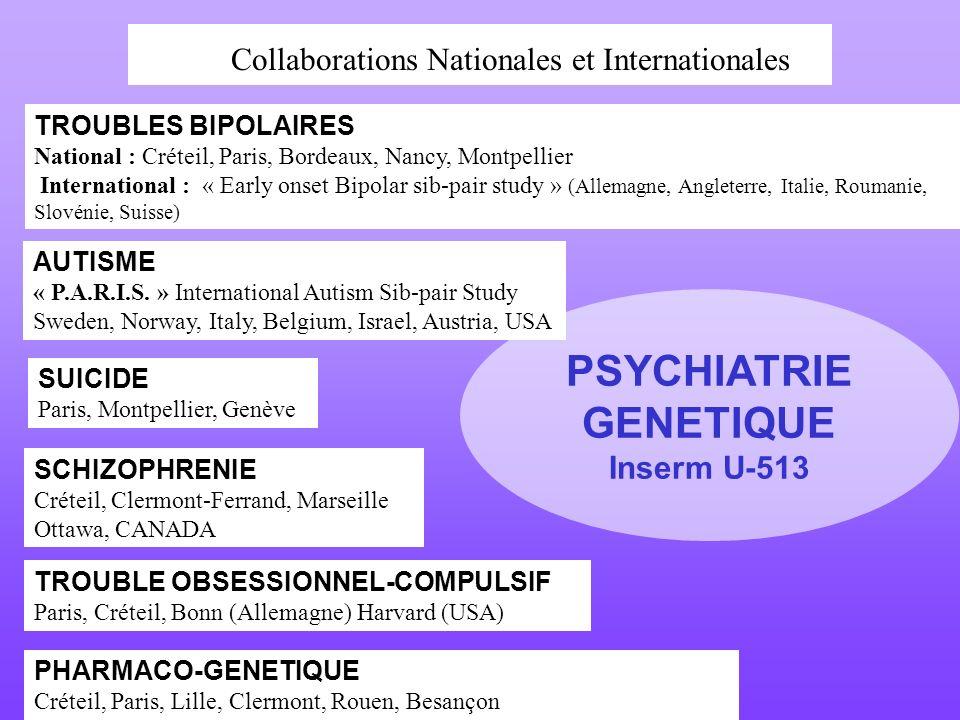 PSYCHIATRIE GENETIQUE Inserm U-513 TROUBLES BIPOLAIRES National : Créteil, Paris, Bordeaux, Nancy, Montpellier International : « Early onset Bipolar s
