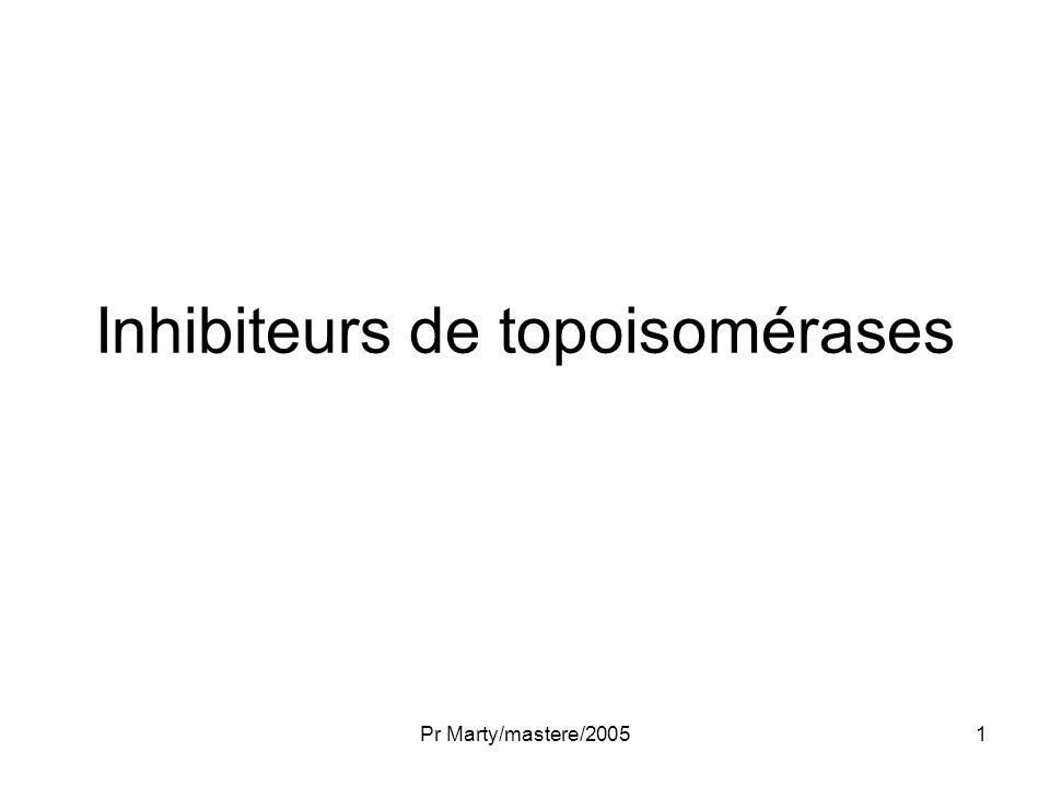 Pr Marty/mastere/200532 Topotecan: développements Indications –SCLC 1 ère et 2 ème ligne Voie orale Autres associations –Antimétabolites: capecitabine –Alkylants