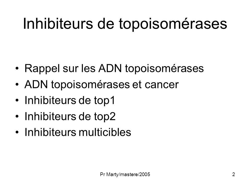 Pr Marty/mastere/200533 Inhibiteurs de topoisomérase II ANthracyclines –DNR –DOX –EDOX –DMDNR Podophylotoxines –Etoposide –Teniposide