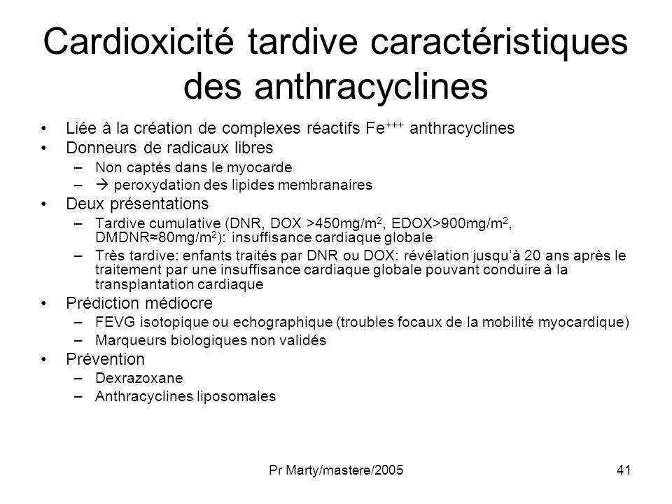 Pr Marty/mastere/200541 Cardioxicité tardive caractéristiques des anthracyclines Liée à la création de complexes réactifs Fe +++ anthracyclines Donneu