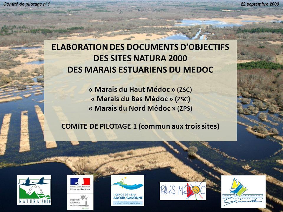 ELABORATION DES DOCUMENTS DOBJECTIFS DES SITES NATURA 2000 DES MARAIS ESTUARIENS DU MEDOC « Marais du Haut Médoc » (ZSC) « Marais du Bas Médoc » ( ZSC