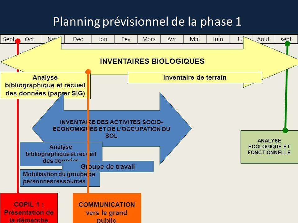 Planning prévisionnel de la phase 1 SeptOctNovDecJanFevMarsAvrMaiJuinJuiAoutsept ANALYSE ECOLOGIQUE ET FONCTIONNELLE COPIL 1 : Présentation de la déma