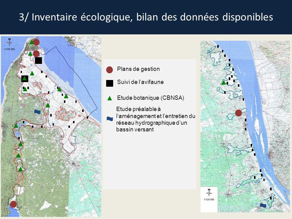 3/ Inventaire écologique, bilan des données disponibles Plans de gestion Suivi de lavifaune Etude préalable à laménagement et lentretien du réseau hyd