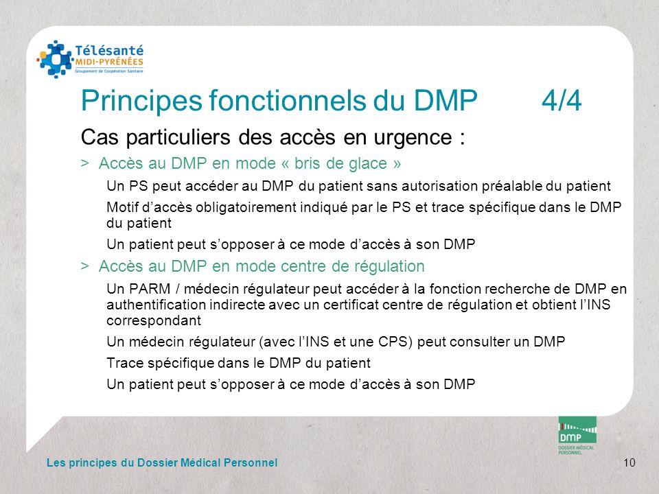 Principes fonctionnels du DMP4/4 Cas particuliers des accès en urgence : >Accès au DMP en mode « bris de glace » Un PS peut accéder au DMP du patient