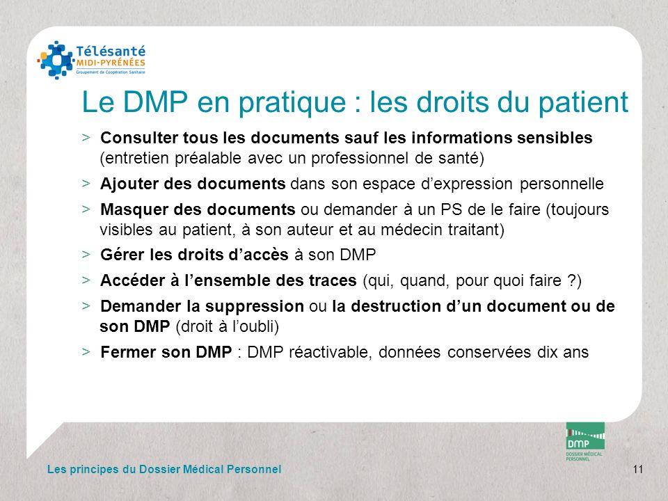 Le DMP en pratique : les droits du patient >Consulter tous les documents sauf les informations sensibles (entretien préalable avec un professionnel de