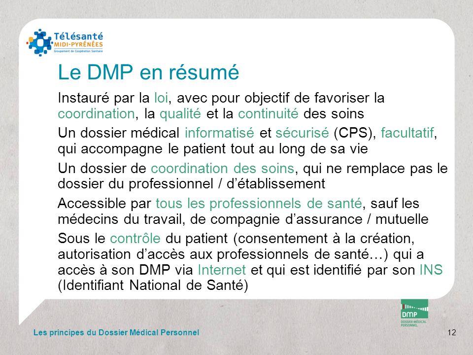 Le DMP en résumé Instauré par la loi, avec pour objectif de favoriser la coordination, la qualité et la continuité des soins Un dossier médical inform